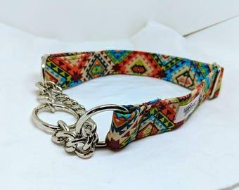 "The Rio - Custom Handmade Chain Martingale Dog Collar, Tribal, Colorful, Southwestern, Large, 1"" Wide"