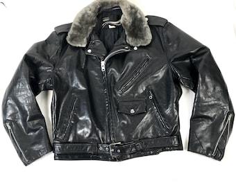 60s Motorcycle Jacket // Sheep Fur Collar // James Dean // Classic Biker // Moto Jacket // 43 Chest //Medium Large