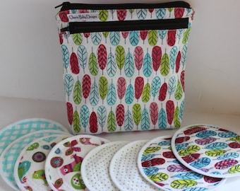 WET/DRY Wet bag, Feathers, Nursing pad pouch, breast  pad accessories, cotton print, pul, and/or 4 pairs nursing breast pads