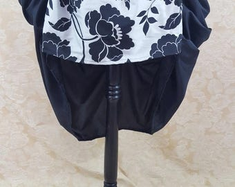 SALE Black And Silver Flower Mini Bustle Skirt-One Size, Fits 20-42 Inch Waist