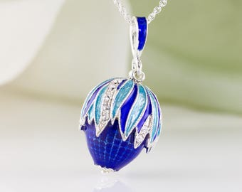 Enamel Jewelry Necklace Egg Corn Pendant Royal Blue w Sky Blue Enamel Over Sterling Silver Jewelry Egg Necklace Unique Gift for Her