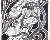 Fineshrine stipple ink drawing