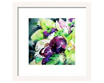 Watercolor Abstract Art Print-Aubergine Purple Abstract Art Print-Fine Art-Wall Decor-Floral Absrtact Giclee