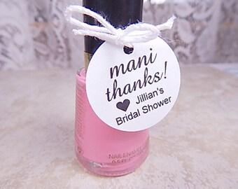 Mani Thanks Personalized Tags Bridal Shower Favor Tags Tiny Circle Nail Polish Tags