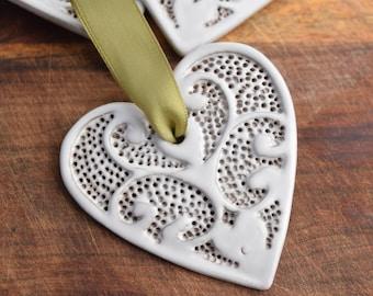 Heart Ornament - White - Valentine's Day - Ceramic Stoneware Pottery