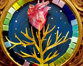 Mixed Media Painting in Antique Clock, Anatomical Heart, Tree, Dark Art, Cardiologist, Time Art