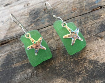 green sea glass earrings with sterling silver starfish with inlaid abalone