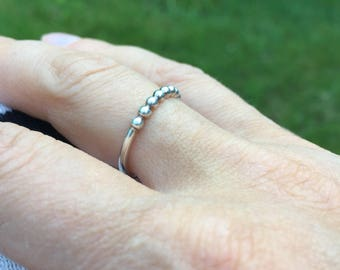 Ball and solid band, Dotted Sterling Silver Stacking Ring, simple sterling silver ring, silver dotted ring, stacking rings, slim dot ring,