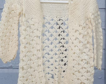 Vintage Crocheted Ivory Soft Baby baby Doll Sweater Hand Made