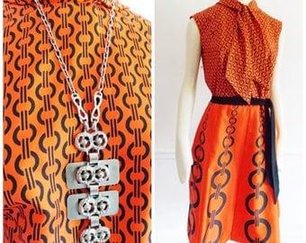 European 1960s mod orange dress/ 60s go go dress with belt/Germany swinging sixties summer dress