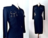 1940s Black and Mustard Rayon Crepe Beaded Bells Suit / A New York Creation / Small