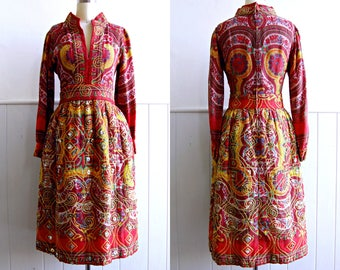 1960s 1970s Red Bohemian Dress // Jay Kobrin