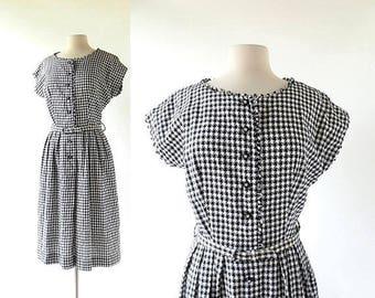 20% off sale 1950s Day Dress | A Fine Day | Gingham Dress | Vintage 50s Dress | Medium M