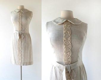 20% off sale 1960s Linen Dress | La Bohème | Peter Pan Collar Dress | 60s Dress | XS