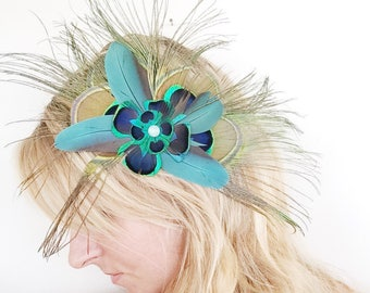 Feather Hairpiece Fascinator Hat Clip Peacock Feathers Cruelty Free Macaw Feathers Kentucky Derby Wedding