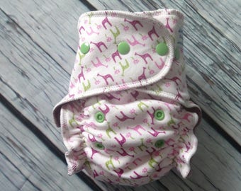 Stay Dry One Size Overnight Fitted Cloth Diaper in Pink Giraffes