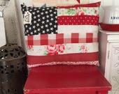 """Americana Flag Pillow 10"""" x 11 1/2"""" regular size( not miniature )"""
