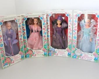 4 Flower Princess Dolls by Creata 1980s, Lisette, Laurelle and Fairytale Witch Tempestia, Fairy Godmother NIB NOS
