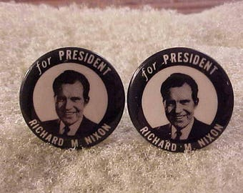 Political Cuff Links Richard M Nixon Vintage Campaign Button - Free Shipping to USA