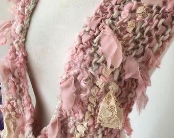 soft dusky pink cream textured art yarn Hand Spun Hand Knit Scarf boho chic