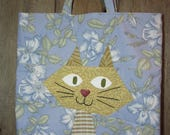 Green Eyed Cat Tote Bag - Book or Market Bag