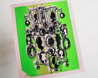 CAMEOS #017   cheerful colorful art retro silhouettes silkscreen printed by hand in neon green on pale pink (8x10)