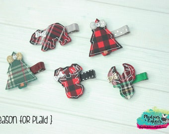 Christmas Winter baby Hair Clip  { Season for Plaid } deer, tree, bear, buffalo plaid baby toddler bows, red black clip