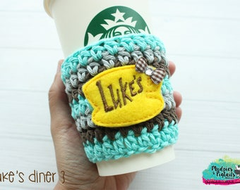 Gilmore Girl's Coffee Cup Cozy { Luke's Diner } yellow, aqua, restaurant, tv show crochet mug sweater starbucks, water bottle, crochet
