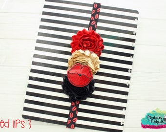 Valentines day Planner band { Red Lips } kisses, love glitter, red black gold planner girl accessories bible journaling band, baby headband