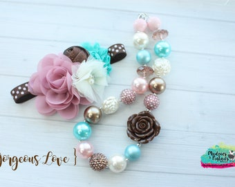 Vintage necklace or baby headband { Gorgeous Love } brown, cream ,rose pink, first birthday cake smash photography prop