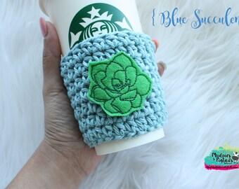 Cactus Crochet Cup Sleeve { Blue Succulent } pastel, mint, cream gold crochet, mug sweater, starbucks, aesthetic, plain
