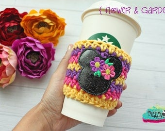 Spring Crochet Coffee Sleeve { Flower & Garden } festival, minnie, floral cup cozy, knit mug sweater, starbucks gift, frappuccino holder