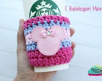 Crochet Coffee Sleeve { Bubblegum Minnie } bubblegum wall, pink and blue bow crown, birthday cup cozy, knit mug sweater, gift, mug holder