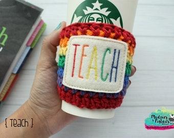 Teacher Coffee Cozy { Teach } school bus driver, crayon box, rae dunn inspired student teacher, back to school, reuseable cup sleeve,