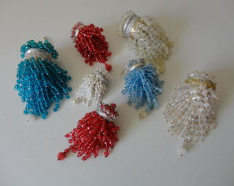 VINTAGE collection of 7 handmade BEADED ORNAMENTS - beaded tea strainers - red white blue