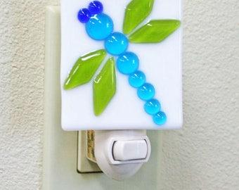 Glassworks Northwest - Dragonfly Night Light - Fused Glass Art