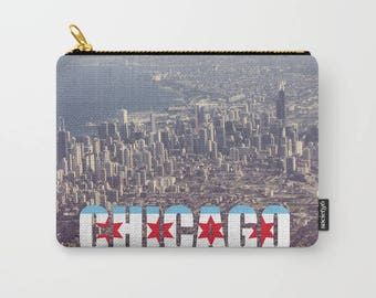 Chicago City Flag Text Color Photo Carry All Pouch
