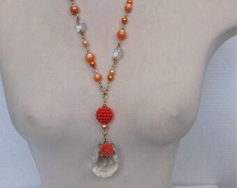 Chandelier crystal/ orange flower necklace