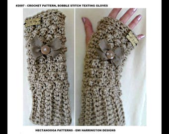 CROCHET PATTERNS -  texting gloves, Bobble stitch - 5 yrs to Adult Large, Easy pattern, #2097
