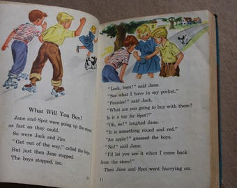 Vintage Basic Reader- The New Friends and Neighbors- 1952 Copyright- Vintage Illustrations- Boys Girls Reading Books