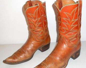 Mens Sz 8 Vintage Cowboy Boots Tan Green Retro Western Boho Shoes Womens 9 - 9.5