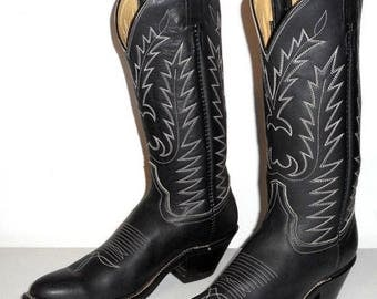 Black Leather Womens Cowboy Boots 8.5 A Narrow Laramie Cowgirl Biker Western