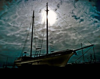 Art Print Mast Sailing Fishing Silhouette Photography, Astoria, Oregon Coast Pirate, nautical, shipyard, captain, Pacific Ocean fisherman