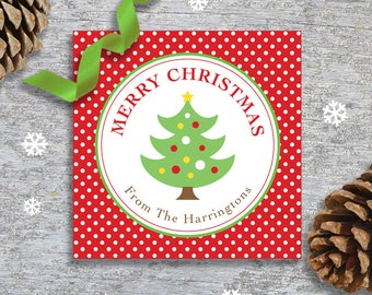 Personalized Christmas Gift Tags or Stickers - DIY Printable - Christmas Tree (Digital File)