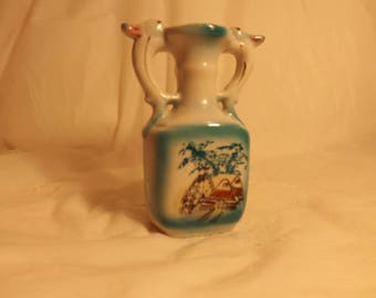 FREE SHIPPING vintage vase with waterwheel and bird handles marked Japan (Vault B2)