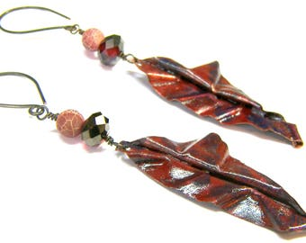 ON SALE Red Folded Form Dangle Earrings Copper Earrings Top Selling Jewelry Popular Jewelry Formed Earrings Hand Painted Jewelry