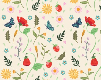 Wild Flowers and Strawberries Fabric - Wild Strawberry By Angie Spurgeon - Sweet Summer Botanical Cotton Fabric By The Yard With Spoonflower