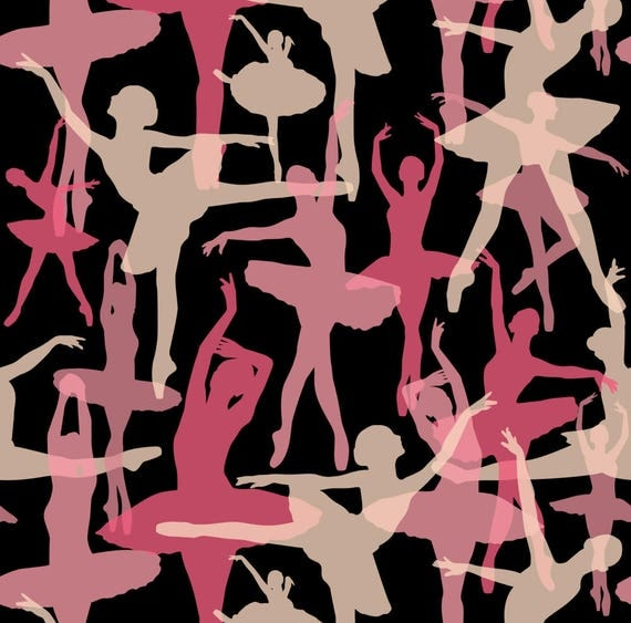 Pink and Black Ballet Fabric Ballerina Black Background By