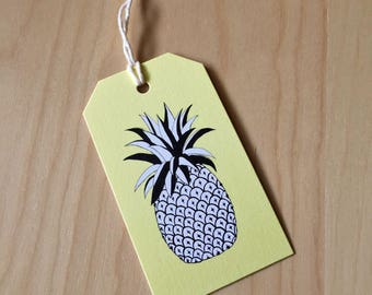Pineapple - set of 6 mini gift tags - Rachelink hand drawn cards