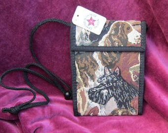 Tapestry Fabric SCOTTISH TERRIER assorted dogs Wallet Purse w/Corded Strap made in USA